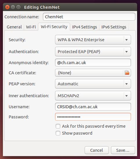 Wi-fi security tab