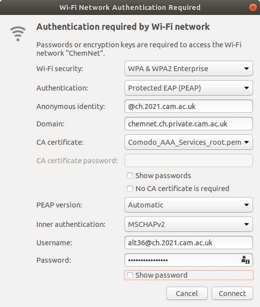 Wi-fi security tab