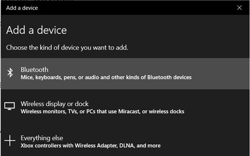 Click 'Bluetooth' to add device