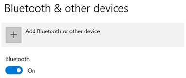 Turn Bluetooth on and click 'Add Bluetooth or other device'