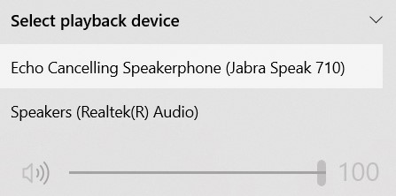 Click the ^ on the right and choose your speaker