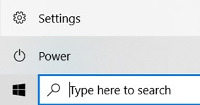 Click the Windows icon then 'Settings' above it