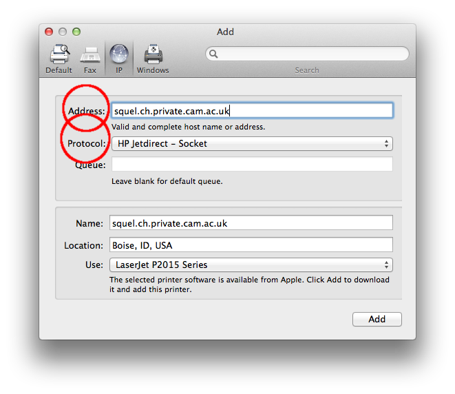 Adding a network printer from Mac OS X | Computing