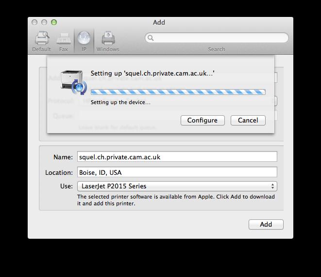 Adding a network printer from Mac OS X | Computing