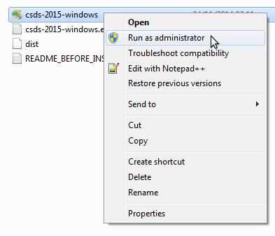 CSD installation screenshot