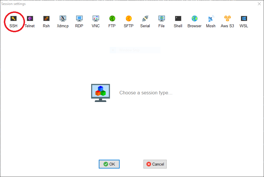 MobaXterm session selection window with SSH circled