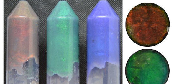 iridescent hydrogels in plastic tubes