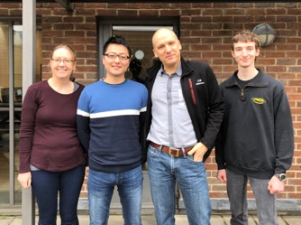 The project team in the Nitschke group: from left to right, Dr Tanya K Ronson, Dr Masahiro Yamashina, Professor Jonathan R. Nitschke and Dr Roy Lavendomme