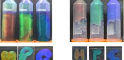 Hydrogels in plastic tubes with iridescent colours